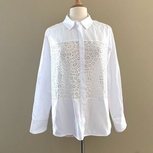 BCBG Maxazria White Lace Cut Out Blouse Sz Large